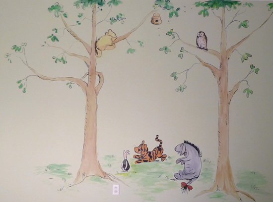 Kids children 39 s murals home page boston nursery murals for Classic pooh mural