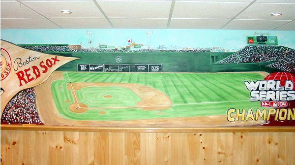 Boston Red Soxl | Fenway Park Baseball Mural | Basement Mural | Man Room Part 68